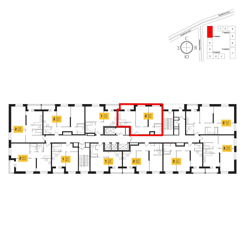 Продаётся 2-комнатная квартира в новостройке 59.5 кв.м. этаж 16/23 за 12 724 178 руб