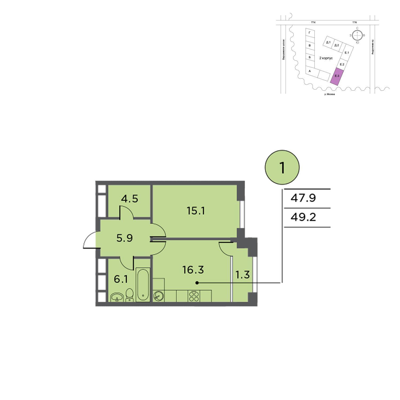 Продаётся 1-комнатная квартира в новостройке 49.4 кв.м. этаж 13/14 за 16 637 920 руб