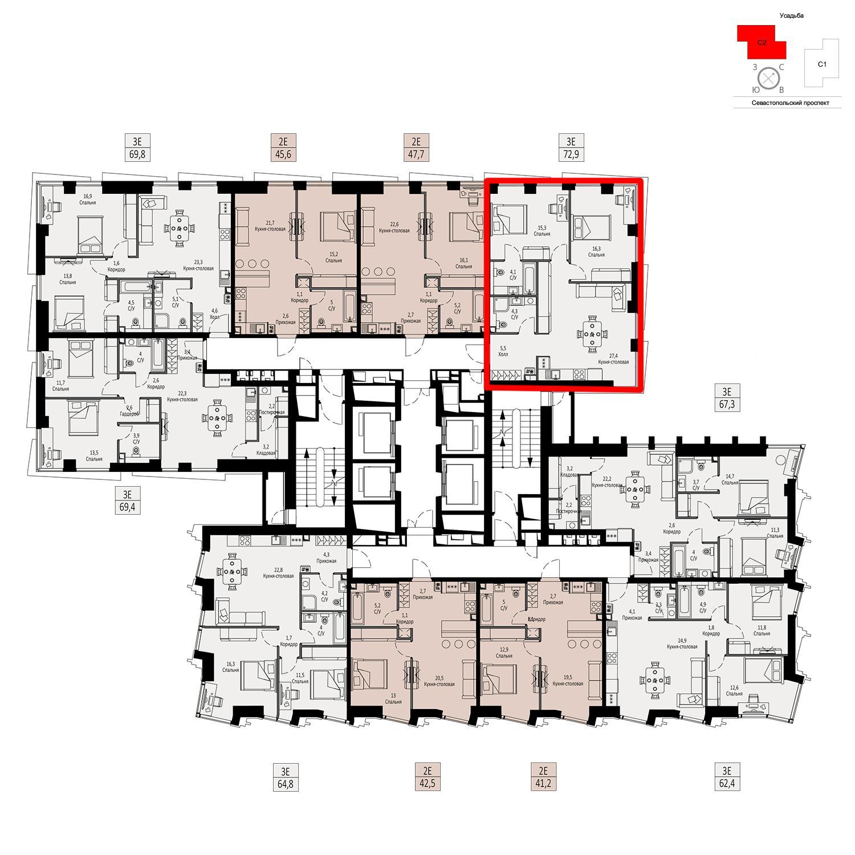 Продаётся  квартира-студия 72.9 кв.м. этаж 5/42 за 24 640 200 руб