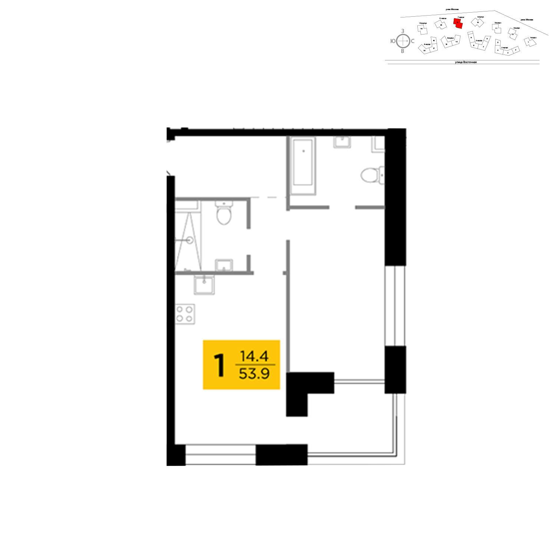 Продаётся 1-комнатная квартира в новостройке 53.9 кв.м. этаж 4/19 за 23 648 214 руб