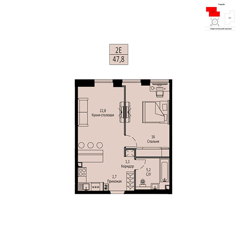 Продаётся  квартира-студия 47.8 кв.м. этаж 8/42 за 17 069 380 руб