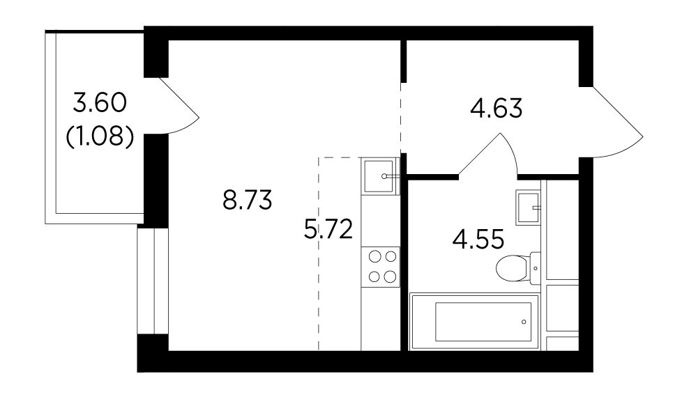 Продаётся  квартира-студия 24.7 кв.м. этаж 8/25 за 5 746 034 руб
