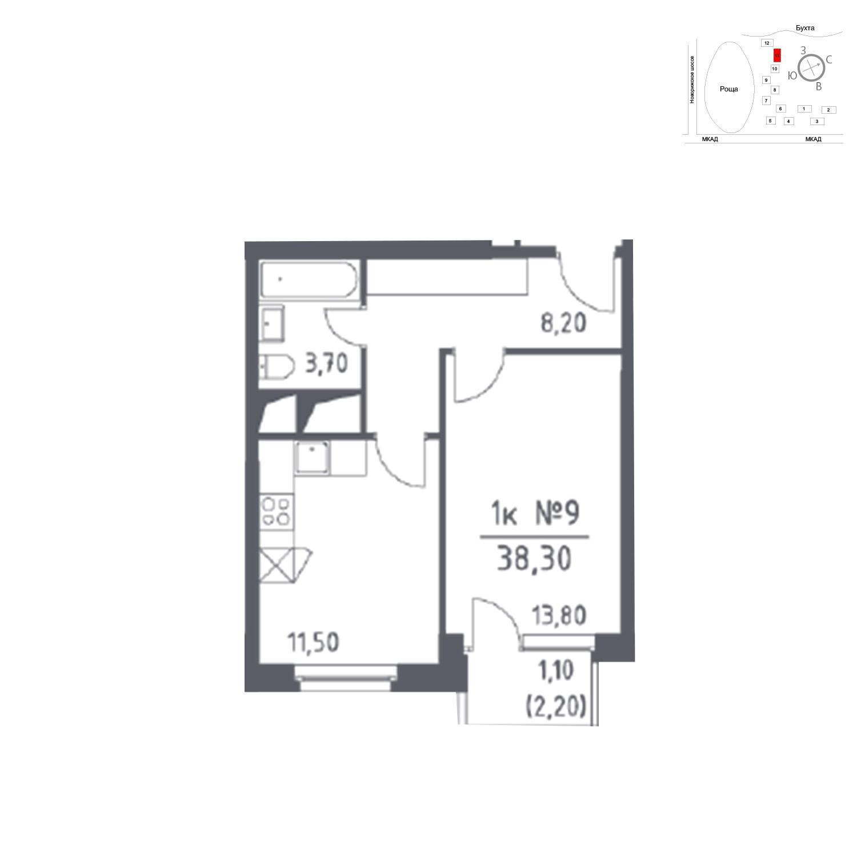 Продаётся 1-комнатная квартира в новостройке 38.3 кв.м. этаж 10/33 за 0 руб