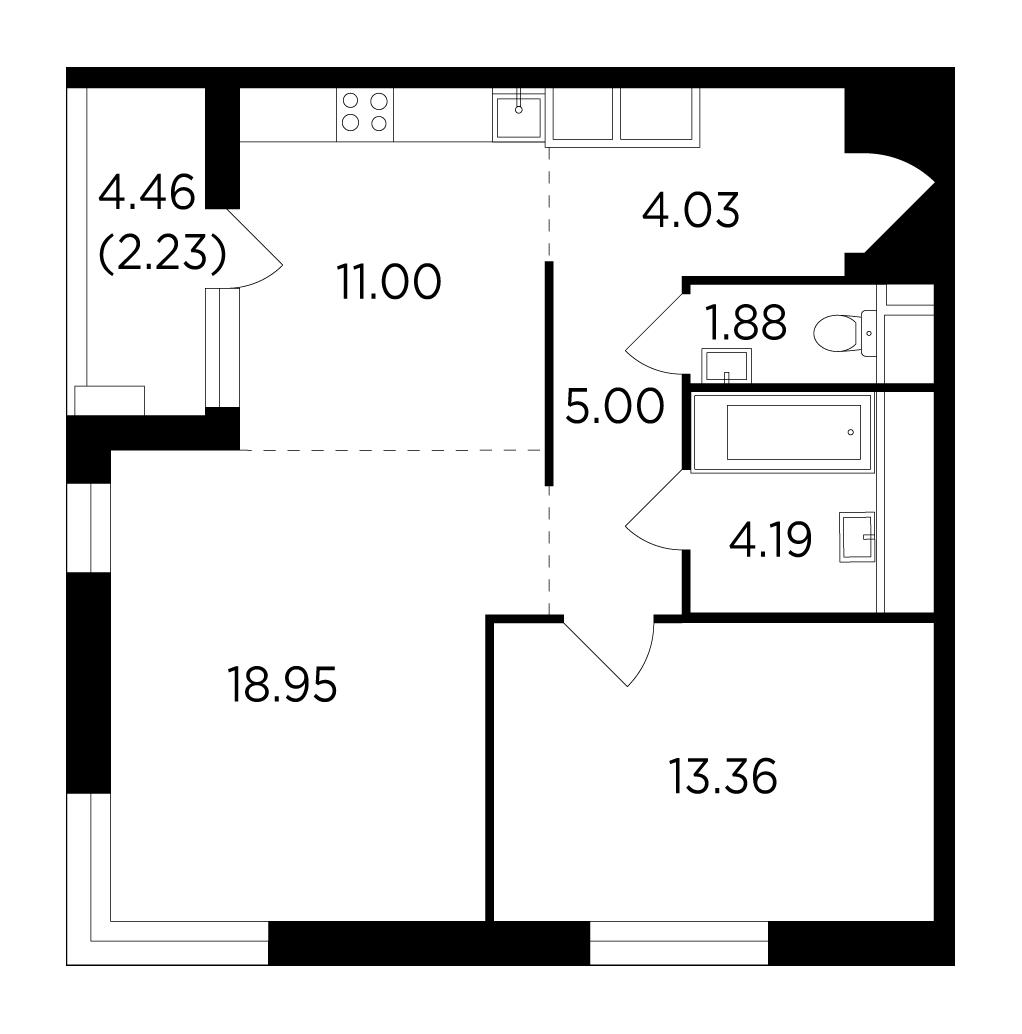 Продаётся 2-комнатная квартира в новостройке 60.6 кв.м. этаж 20/25 за 11 279 165 руб