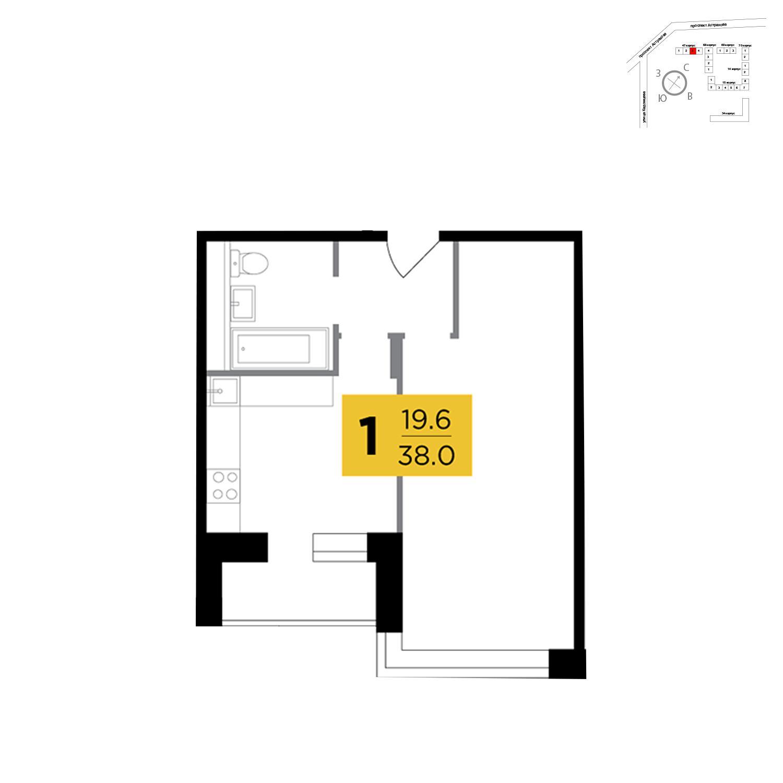 Продаётся 1-комнатная квартира в новостройке 38.0 кв.м. этаж 5/18 за 7 963 478 руб
