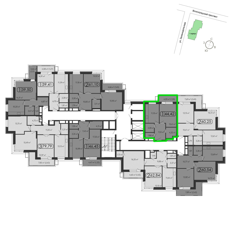 Продаётся 1-комнатная квартира в новостройке 45.6 кв.м. этаж 15/15 за 10 333 040 руб