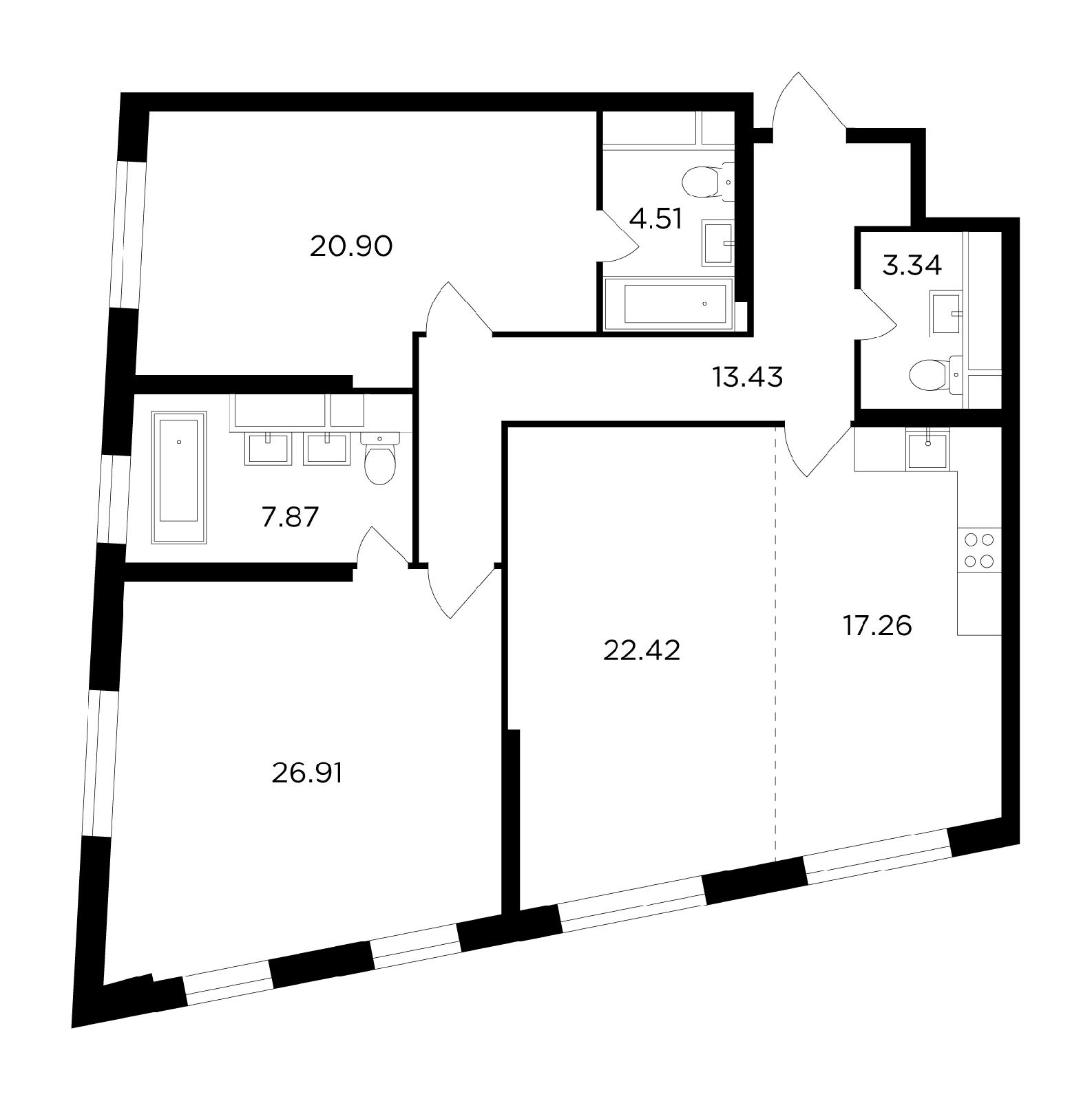 Продаётся 3-комнатная квартира в новостройке 116.6 кв.м. этаж 26/29 за 30 472 983 руб
