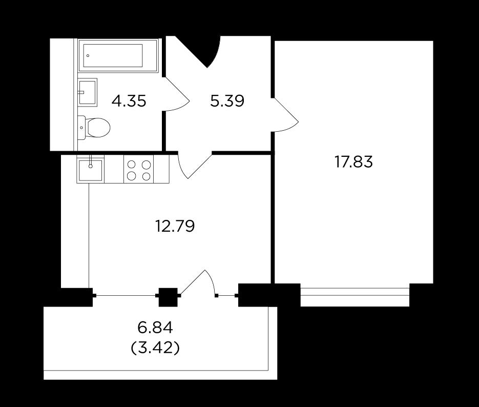 Продаётся 1-комнатная квартира в новостройке 43.8 кв.м. этаж 20/29 за 19 229 051 руб
