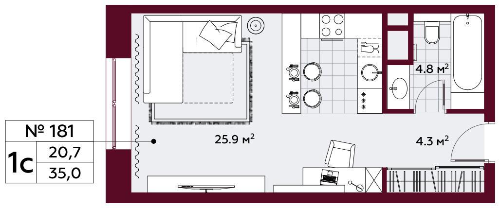 Продаётся  квартира-студия 35.0 кв.м. этаж 6/10 за 15 310 750 руб