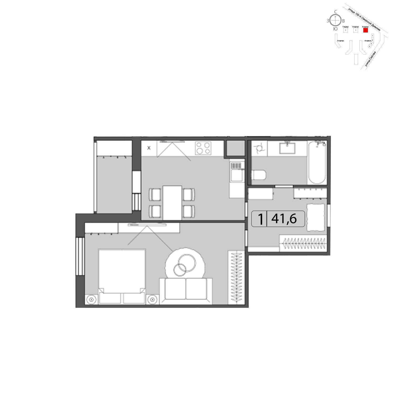 Продаётся 1-комнатная квартира в новостройке 41.7 кв.м. этаж 3/22 за 0 руб