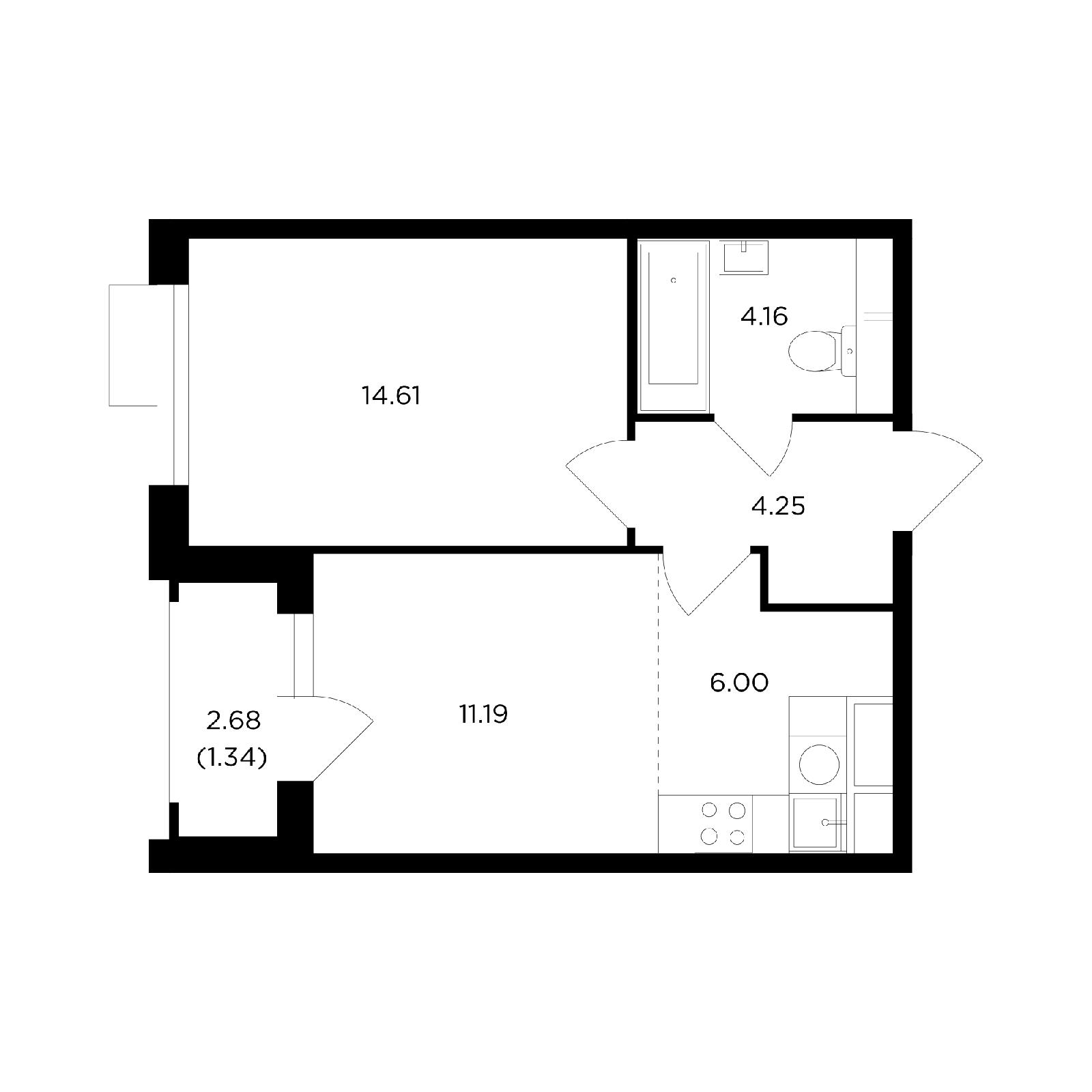 Продаётся 2-комнатная квартира в новостройке 41.1 кв.м. этаж 7/26 за 15 514 435 руб