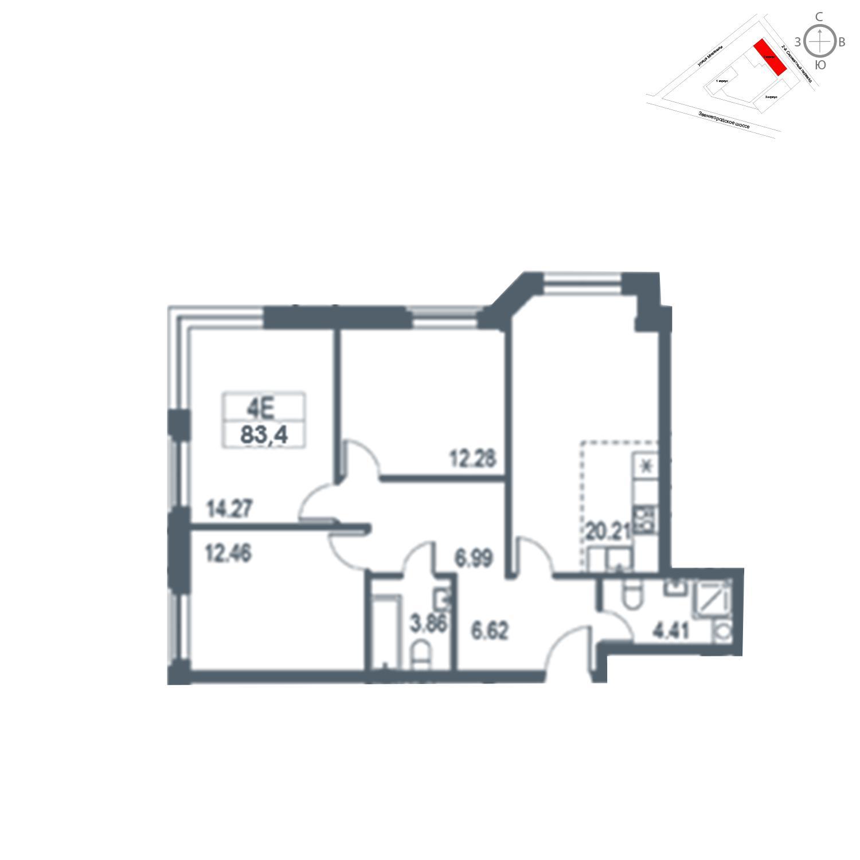 Продаётся 4-комнатная квартира в новостройке 83.4 кв.м. этаж 18/21 за 17 572 380 руб