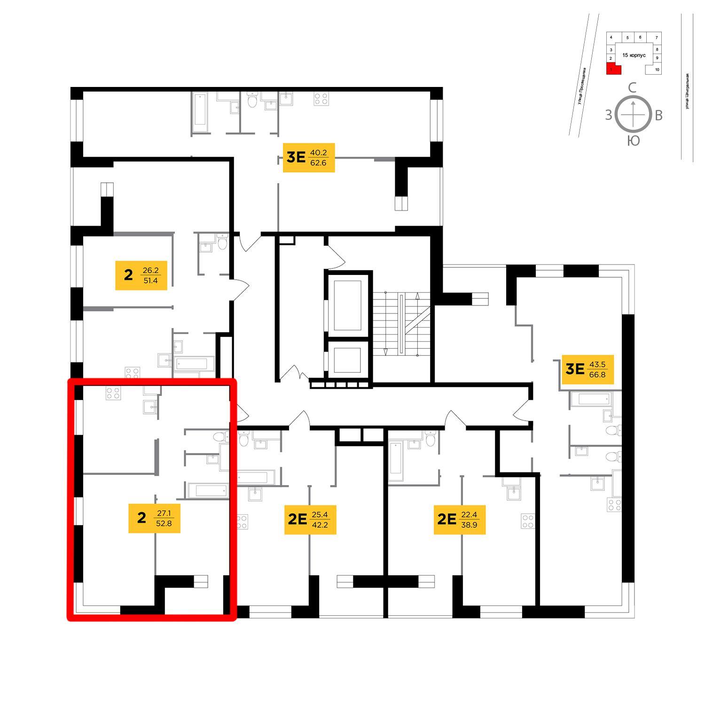Продаётся 2-комнатная квартира в новостройке 52.8 кв.м. этаж 5/16 за 4 211 592 руб