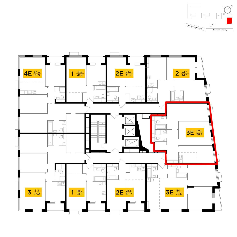 Продаётся 3-комнатная квартира в новостройке 76.7 кв.м. этаж 14/26 за 27 054 159 руб