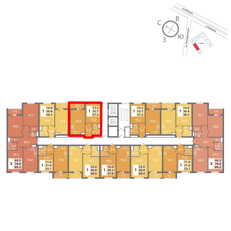 Продаётся 1-комнатная квартира в новостройке 37.2 кв.м. этаж 12/19 за 10 112 674 руб
