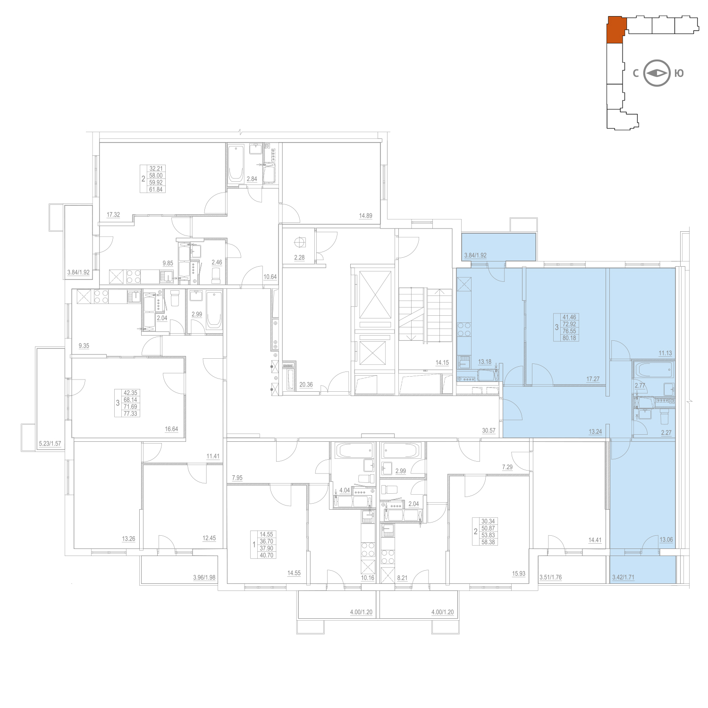 Продаётся 3-комнатная квартира в новостройке 76.6 кв.м. этаж 16/25 за 11 960 172 руб