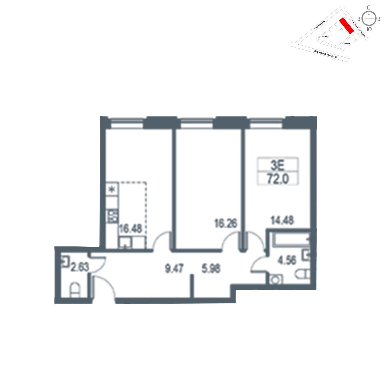 Продаётся  квартира-студия 72.0 кв.м. этаж 16/21 за 15 976 800 руб