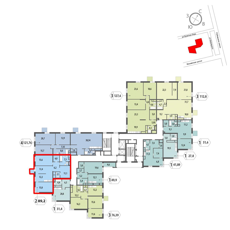 Продаётся 2-комнатная квартира в новостройке 89.2 кв.м. этаж 7/12 за 19 902 687 руб