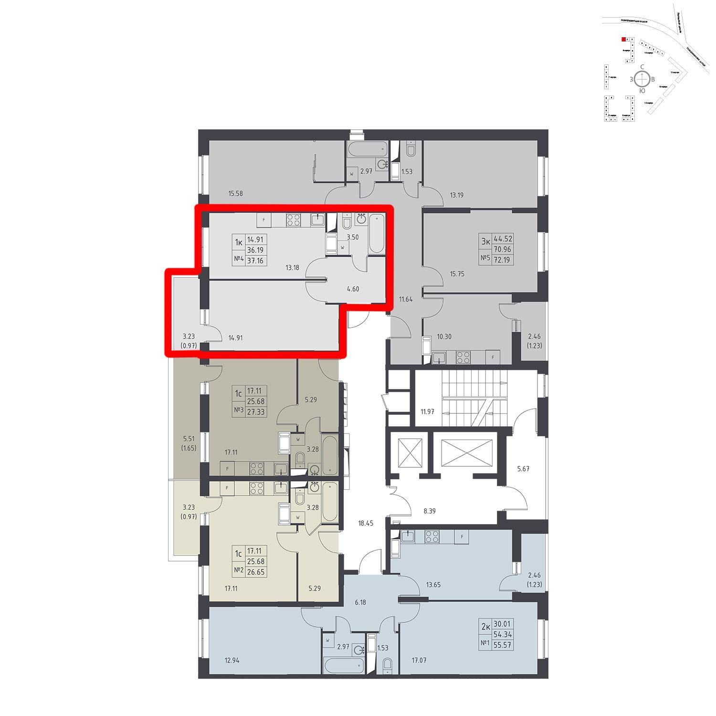 Продаётся 1-комнатная квартира в новостройке 37.2 кв.м. этаж 14/17 за 4 175 409 руб