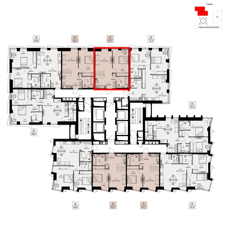 Продаётся  квартира-студия 47.7 кв.м. этаж 5/42 за 16 809 480 руб