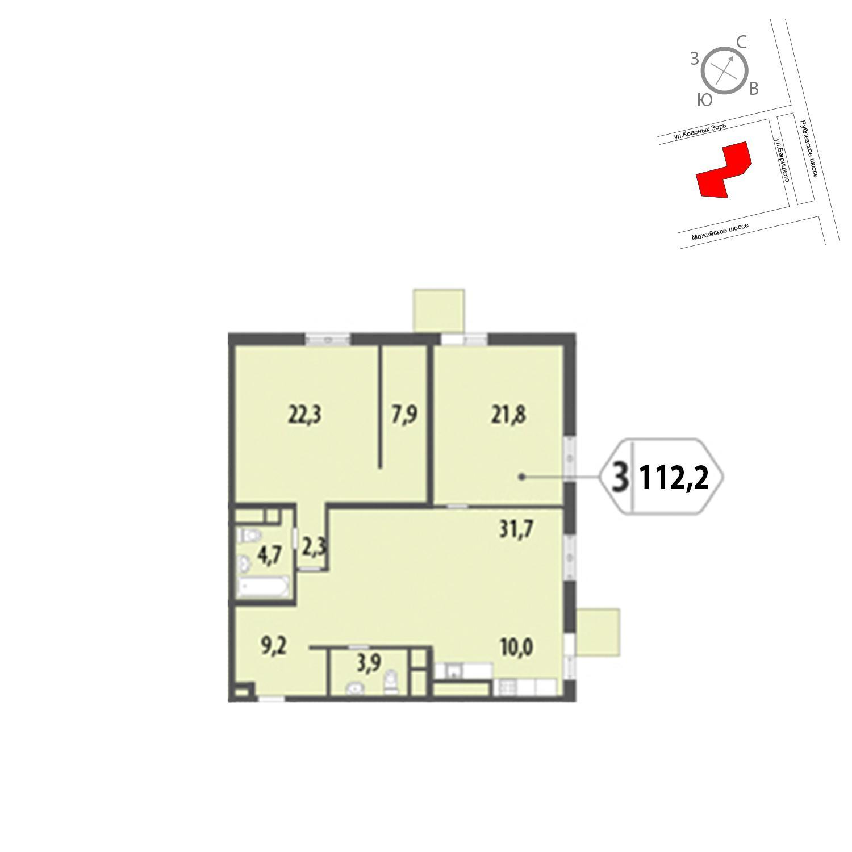 Продаётся 3-комнатная квартира в новостройке 112.2 кв.м. этаж 10/12 за 25 505 711 руб