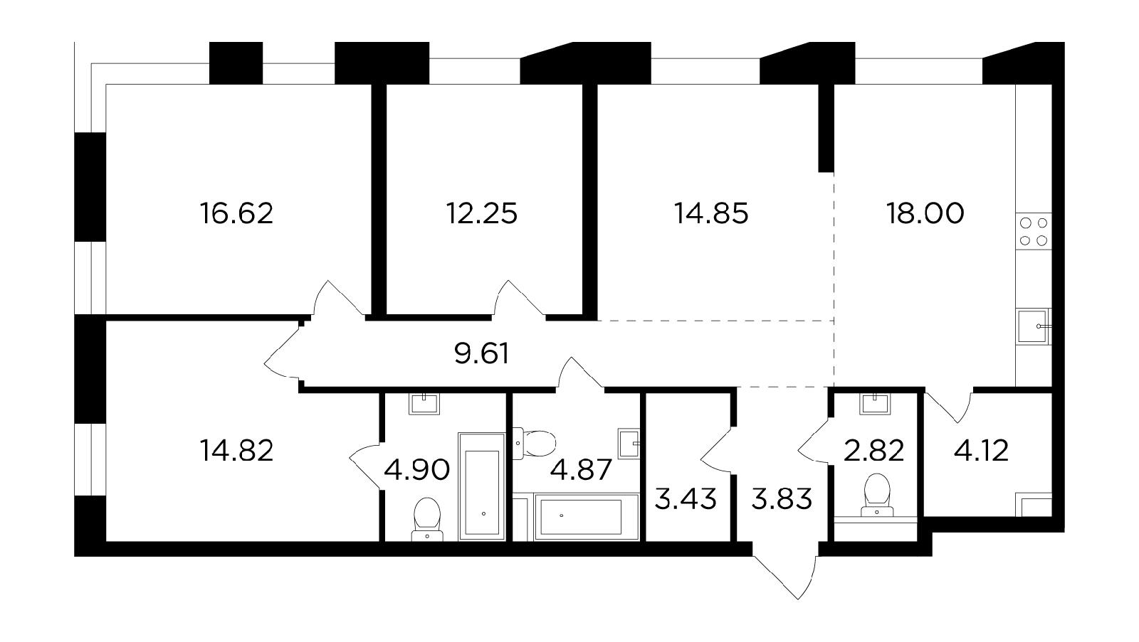 Продаётся 4-комнатная квартира в новостройке 110.1 кв.м. этаж 7/16 за 40 798 248 руб