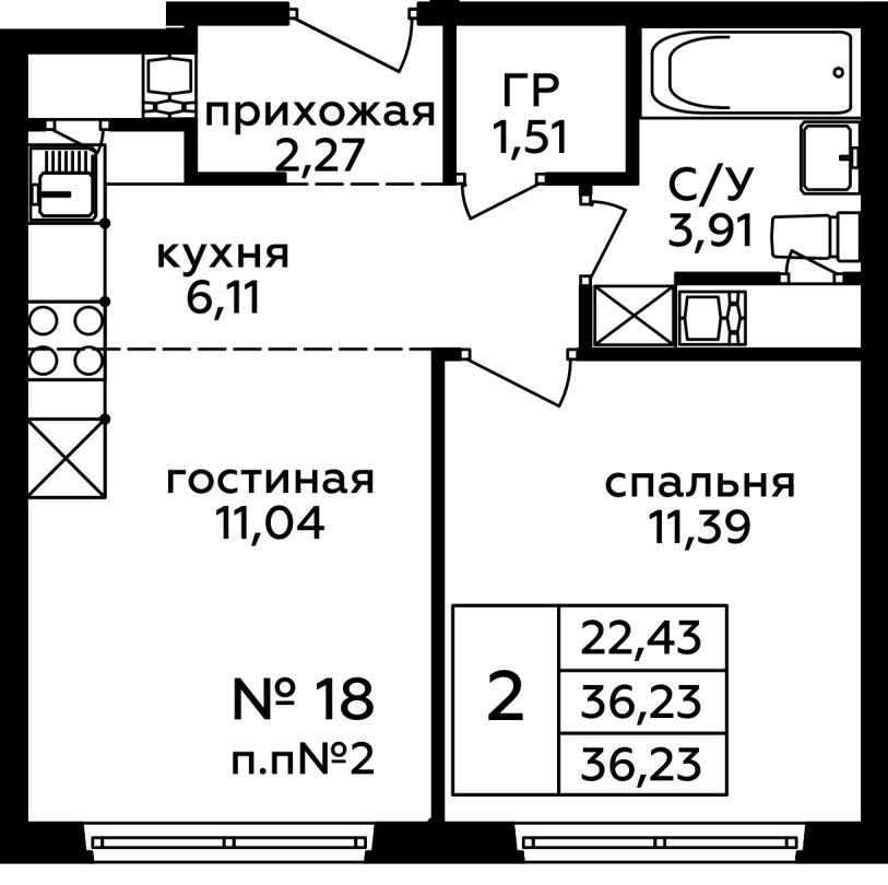 Продаётся 2-комнатная квартира в новостройке 36.2 кв.м. этаж 6/22 за 5 213 497 руб