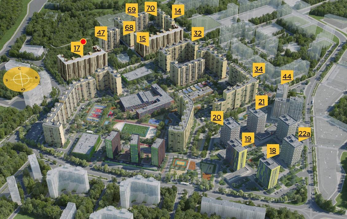 Продаётся 2-комнатная квартира в новостройке 55.0 кв.м. этаж 13/17 за 5 406 500 руб