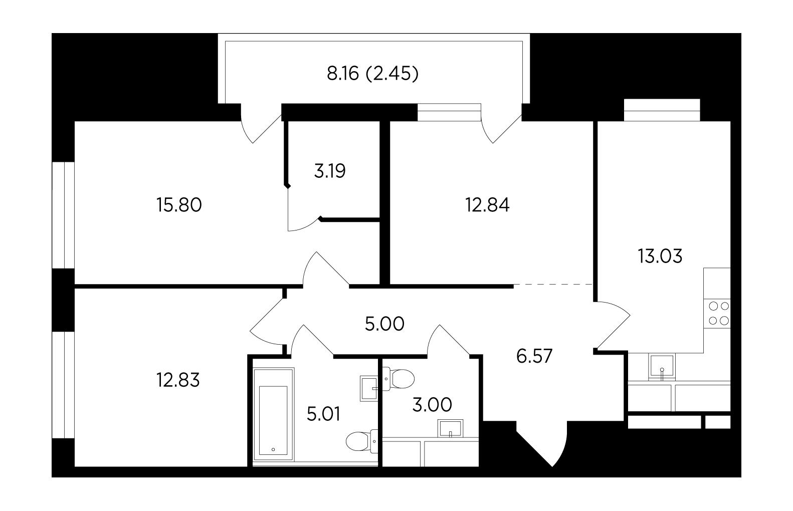 Продаётся 3-комнатная квартира в новостройке 79.7 кв.м. этаж 22/25 за 13 789 806 руб