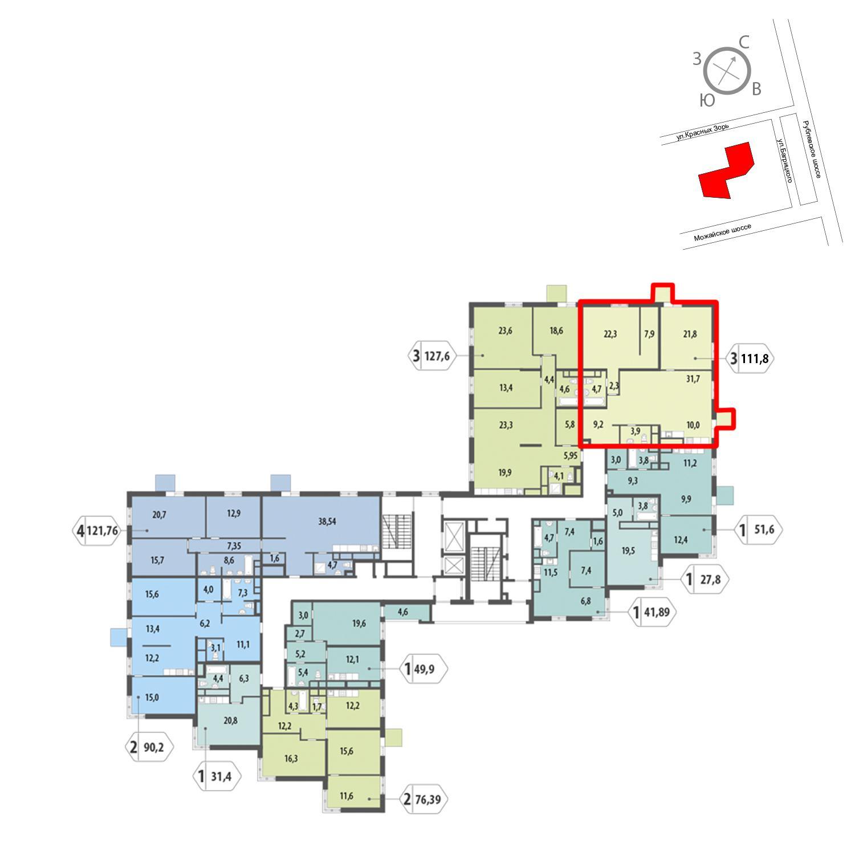 Продаётся 3-комнатная квартира в новостройке 111.8 кв.м. этаж 5/12 за 24 162 821 руб