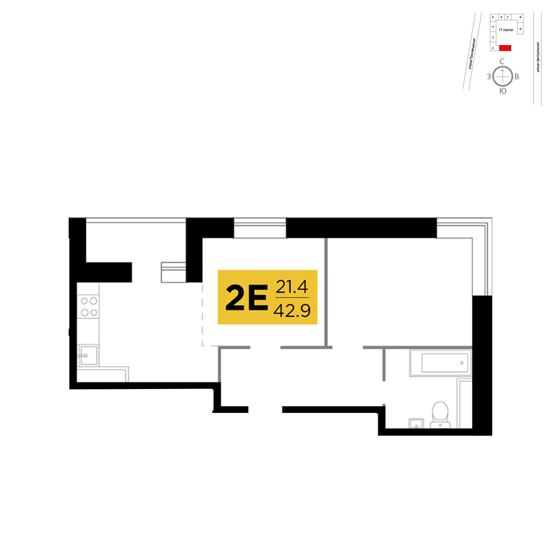 Продаётся 2-комнатная квартира в новостройке 42.9 кв.м. этаж 4/16 за 3 833 372 руб