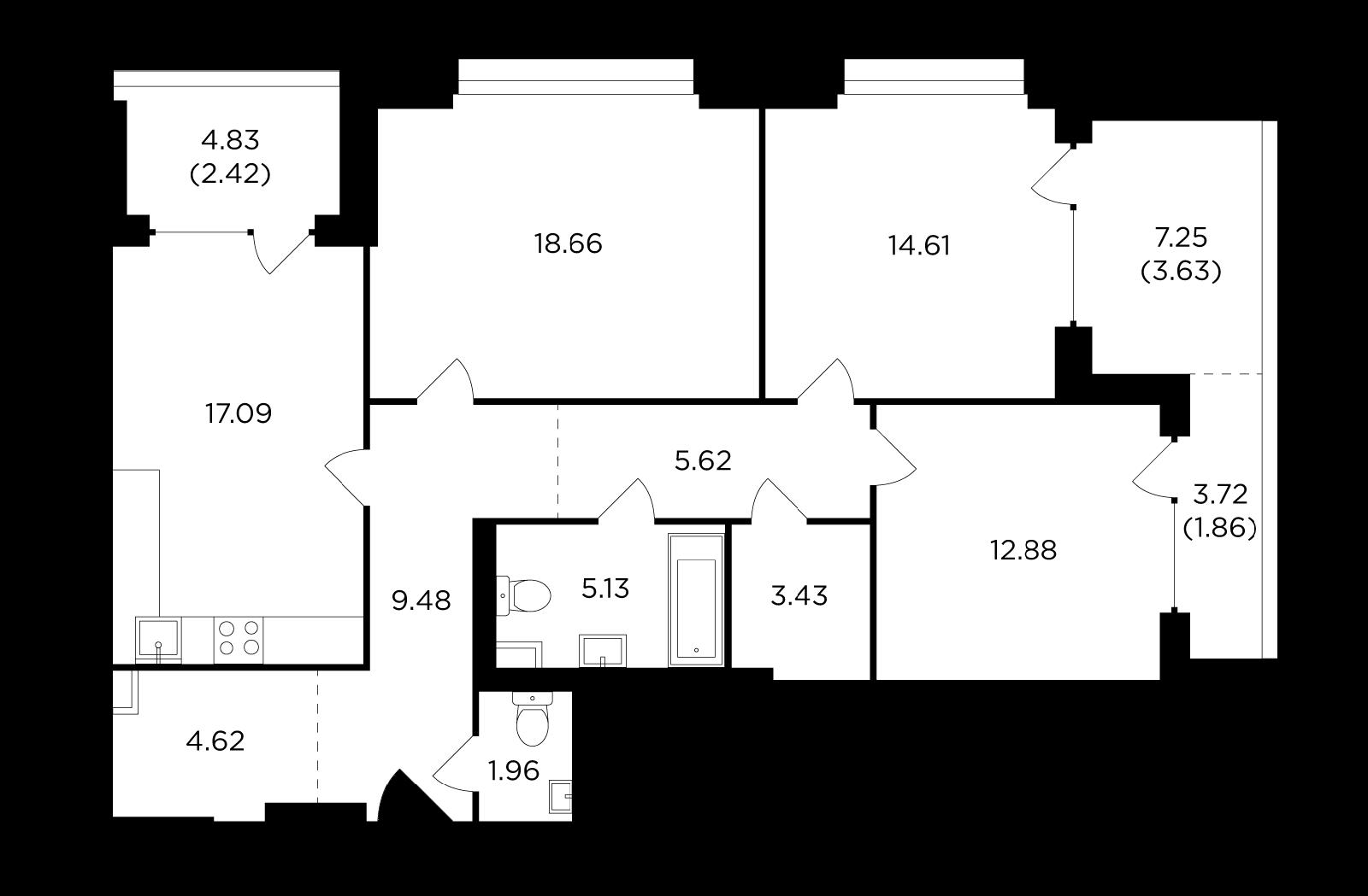 Продаётся 3-комнатная квартира в новостройке 101.4 кв.м. этаж 2/29 за 40 420 278 руб