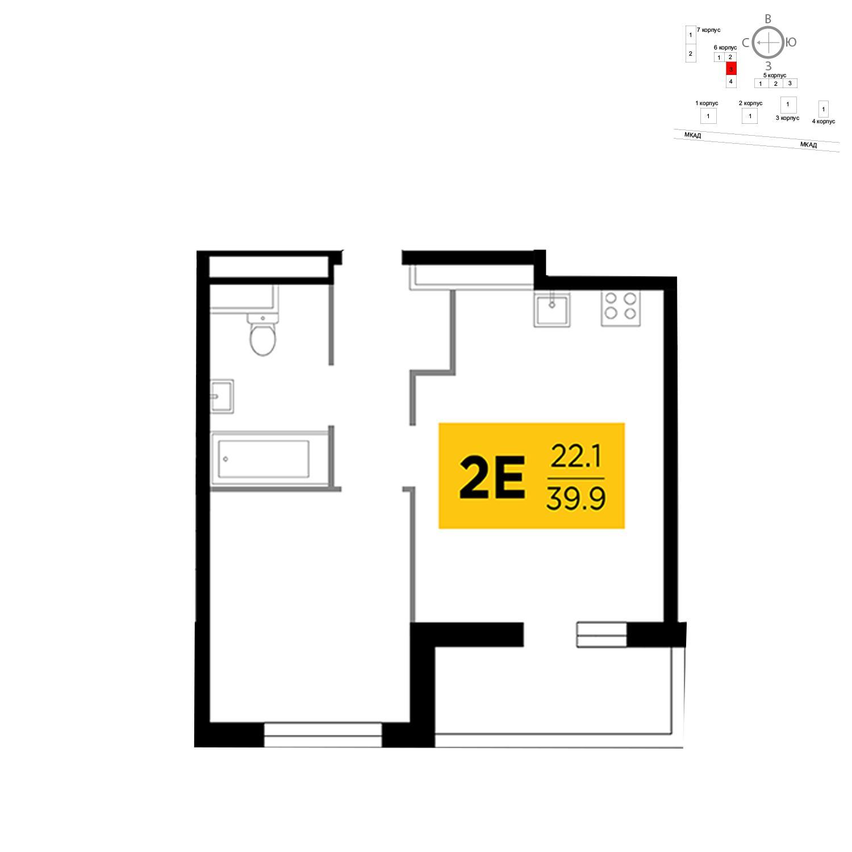 Продаётся 2-комнатная квартира в новостройке 39.9 кв.м. этаж 16/19 за 12 892 351 руб