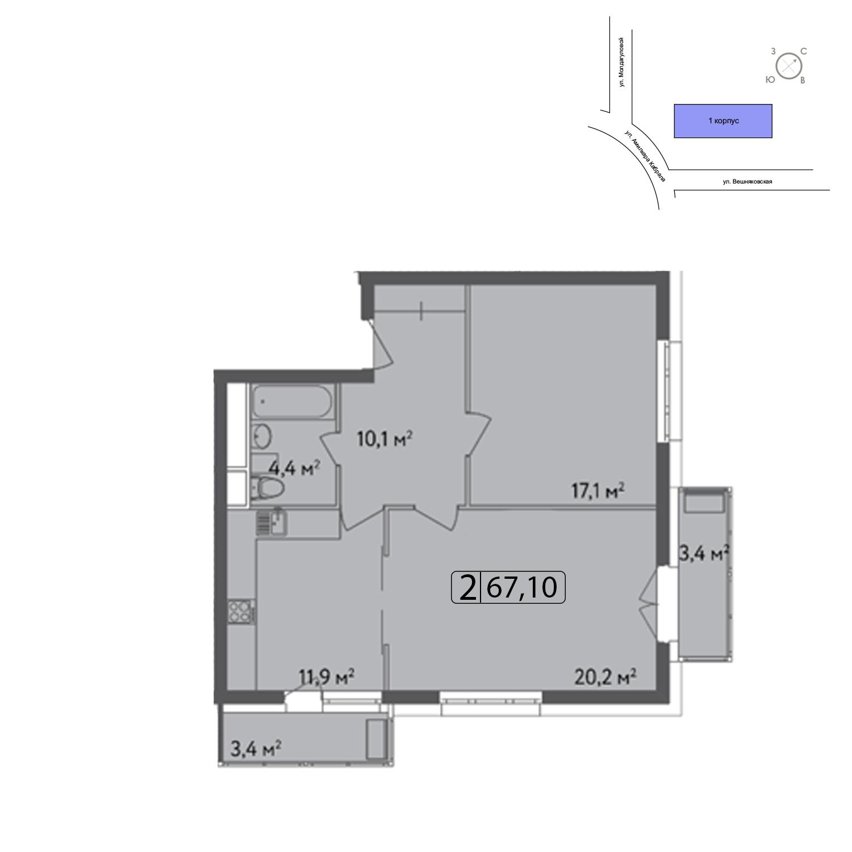 Продаётся 2-комнатная квартира в новостройке 66.7 кв.м. этаж 8/13 за 13 670 140 руб