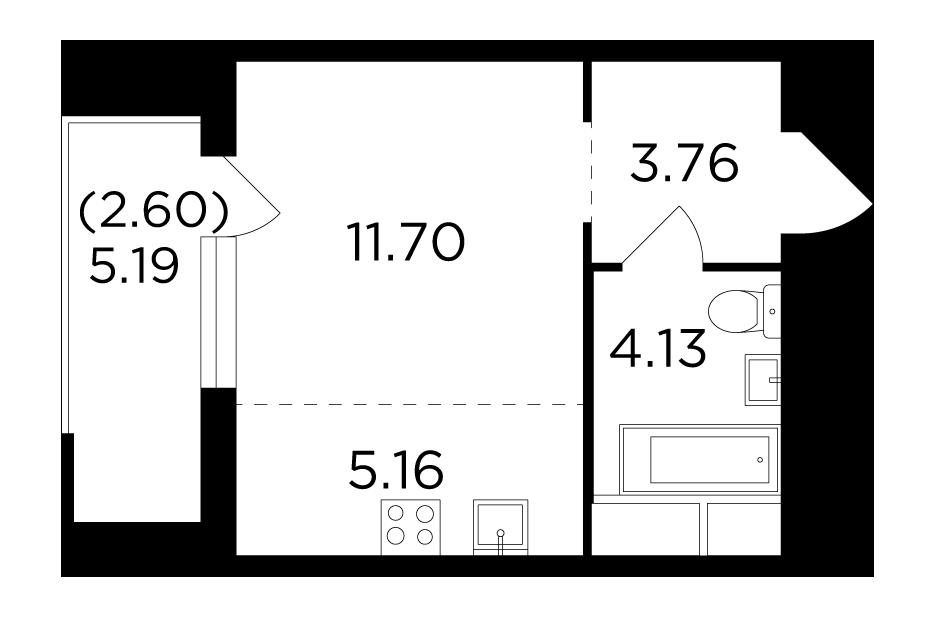 Продаётся 1-комнатная квартира в новостройке 27.4 кв.м. этаж 9/24 за 4 637 476 руб