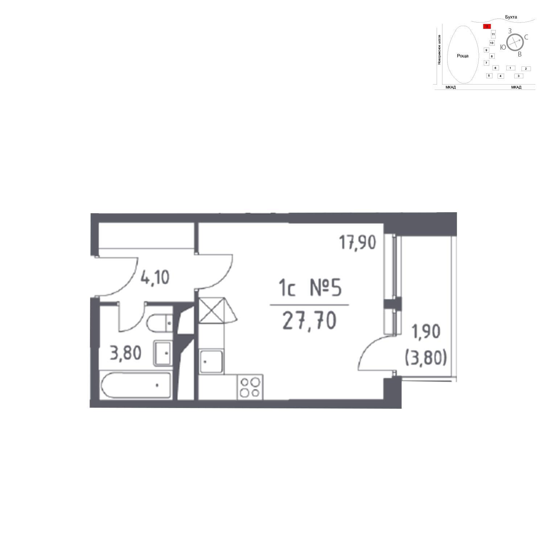 Продаётся  квартира-студия 27.7 кв.м. этаж 8/32 за 0 руб