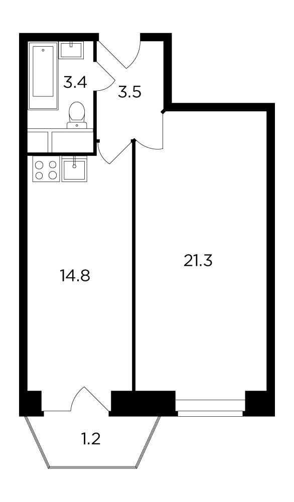 Продаётся 1-комнатная квартира в новостройке 44.2 кв.м. этаж 9/12 за 4 865 638 руб