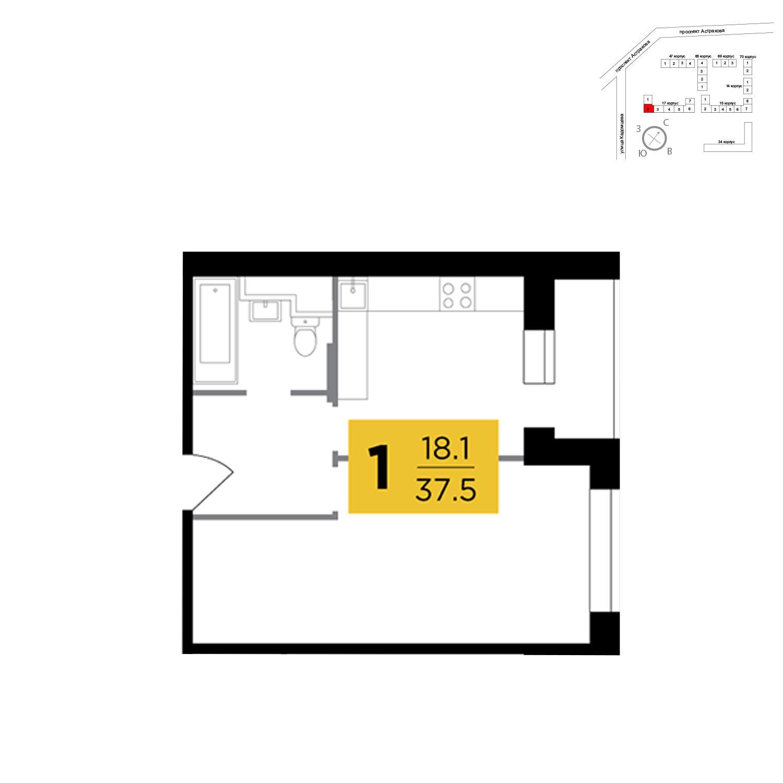 Продаётся 1-комнатная квартира в новостройке 37.5 кв.м. этаж 17/17 за 6 634 228 руб