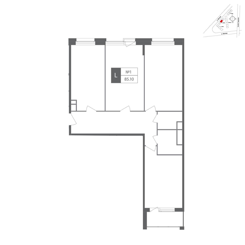 Продаётся 3-комнатная квартира в новостройке 84.7 кв.м. этаж 8/12 за 25 389 475 руб