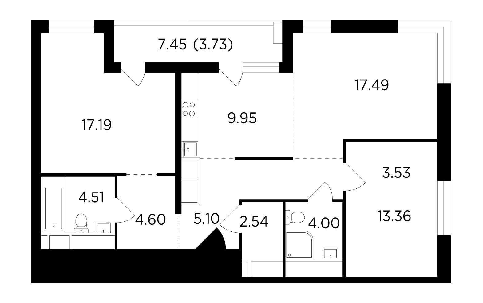 Продаётся 3-комнатная квартира в новостройке 86.0 кв.м. этаж 24/25 за 15 082 961 руб