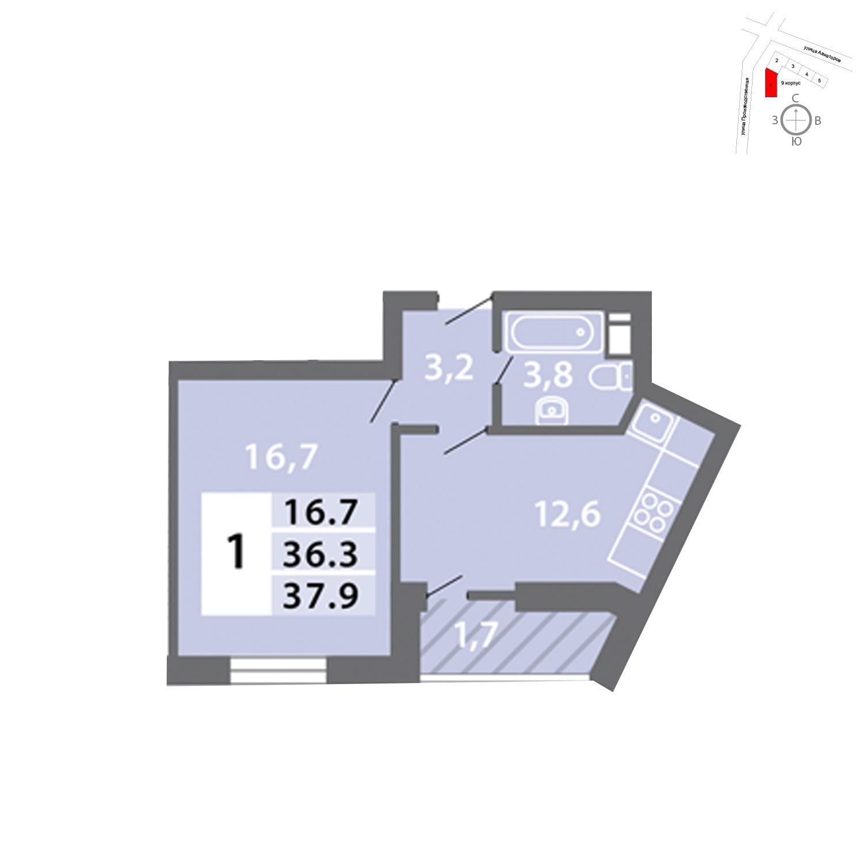 Продаётся 1-комнатная квартира в новостройке 37.9 кв.м. этаж 20/15 за 8 289 890 руб