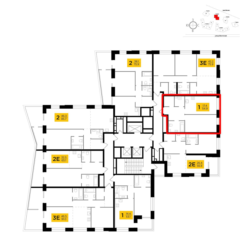 Продаётся 1-комнатная квартира в новостройке 54.9 кв.м. этаж 8/19 за 22 412 827 руб