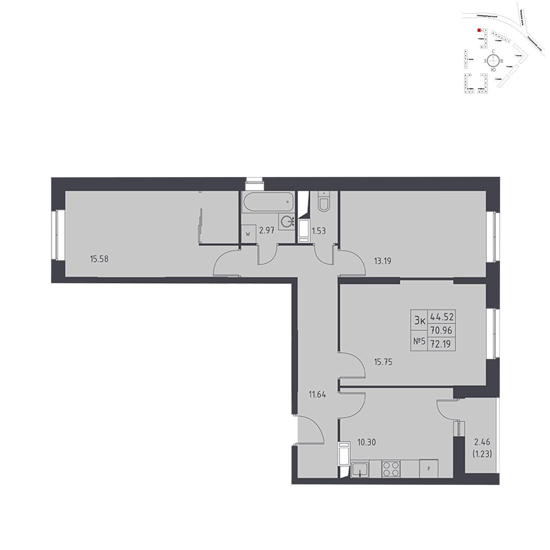 Продаётся 3-комнатная квартира в новостройке 72.2 кв.м. этаж 15/17 за 5 719 397 руб