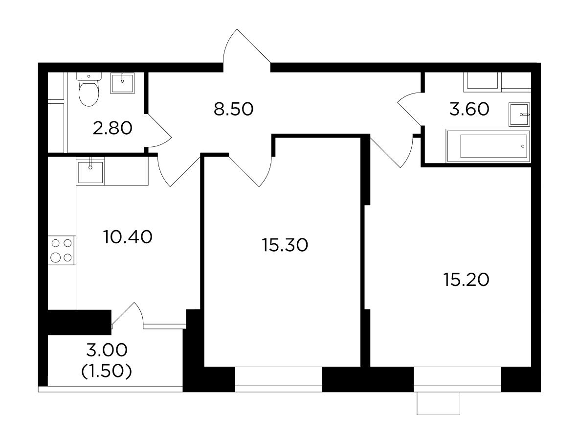 Продаётся 2-комнатная квартира в новостройке 57.3 кв.м. этаж 11/15 за 6 893 075 руб