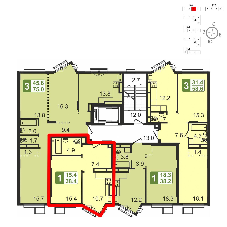 Продаётся 1-комнатная квартира в новостройке 38.4 кв.м. этаж 4/5 за 4 608 000 руб