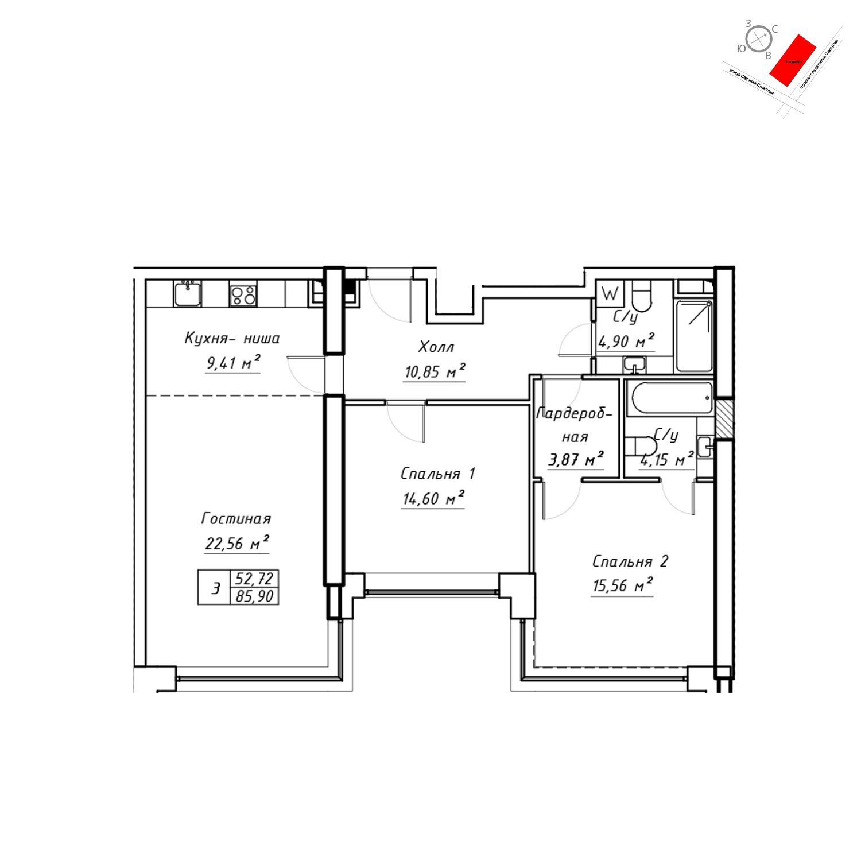 Продаётся  квартира-студия 87.5 кв.м. этаж 4/19 за 31 514 400 руб