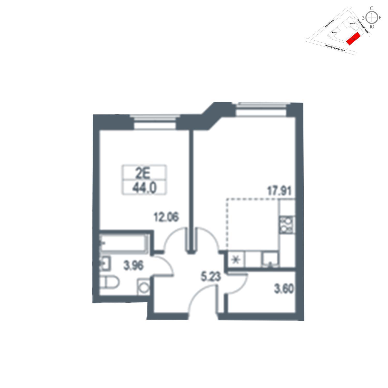 Продаётся  квартира-студия 44.0 кв.м. этаж 21/21 за 11 963 600 руб