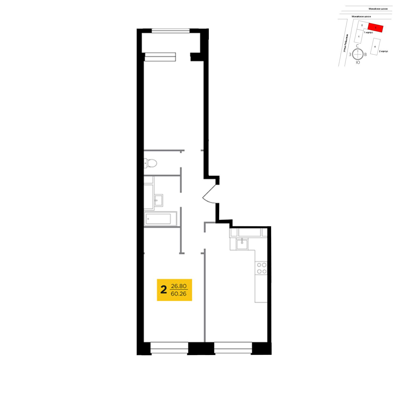 Продаётся 2-комнатная квартира в новостройке 56.4 кв.м. этаж 13/22 за 21 525 922 руб