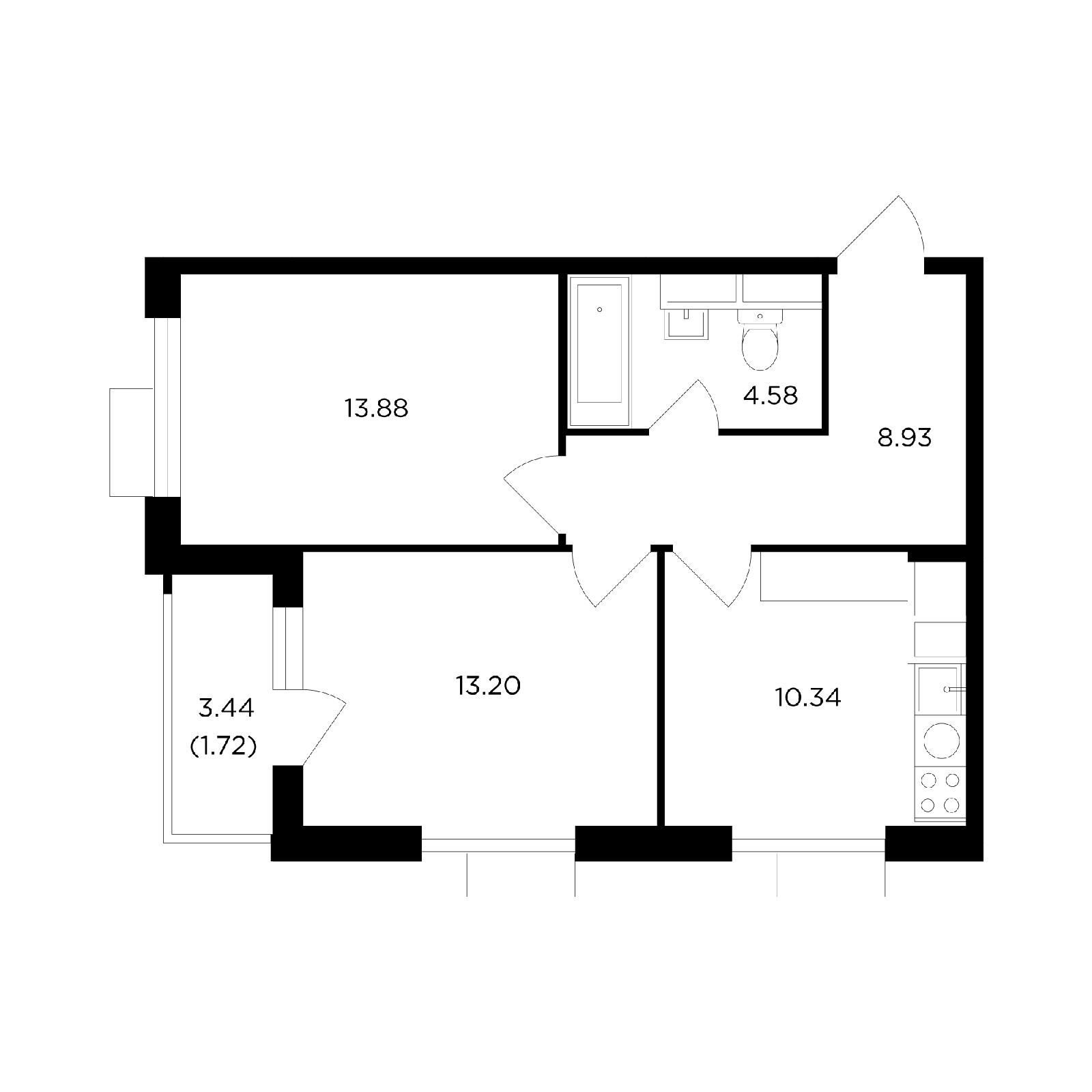 Продаётся 2-комнатная квартира в новостройке 52.7 кв.м. этаж 21/27 за 16 653 721 руб