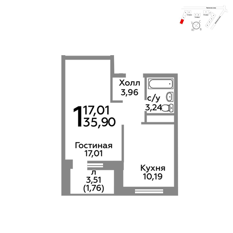 Продаётся 1-комнатная квартира в новостройке 35.9 кв.м. этаж 15/22 за 3 823 350 руб